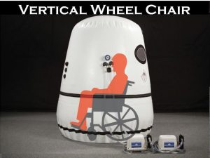Vertical wheel chair hyperbaric chamber